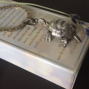 Sterling Silver 14KGP Engraved Turtle Necklace 10""